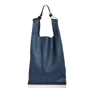 Shopping bag in pelle blu - cinzia rossi