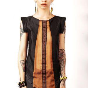 Top nero in lino e seta - cinzia rossi