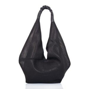 Shopping bag in tessuto tecnico traforato nero - Cinzia Rossi